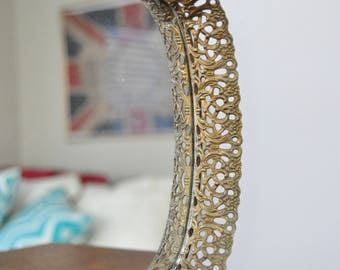 Vintage Mirrored Vanity Tray with Filigree Scroll Edge, Gold Tone, Brass, Oval