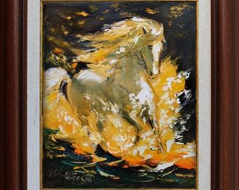 Horse painting, Original Impasto oil painting on Canvas, Palette knife painting, Horse wall art decor, Animal painting, Animal artwork