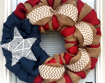 BEST SELLER! 4th of July Wreath-Fourth of July Wreath- Red White and Blue Burlap Wreath-Summer Wreath- Patriotic burlap wreath-