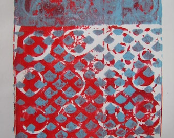 Baby Blue and Red Abstract Print
