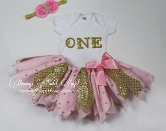 3 piece set tutu outfit. Cake smash tutu. 1st Birthday tutu outfit. Fabric tutu outfit. Gold and pink tutu.