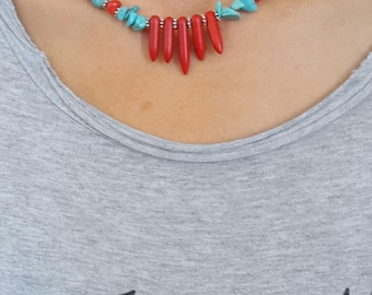 CORAL necklace,korallenkette, turquoise necklace, coral and turquoise necklace, stylish necklace,  rod and broken coral