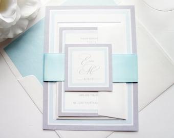 Blue wedding invites   Etsy