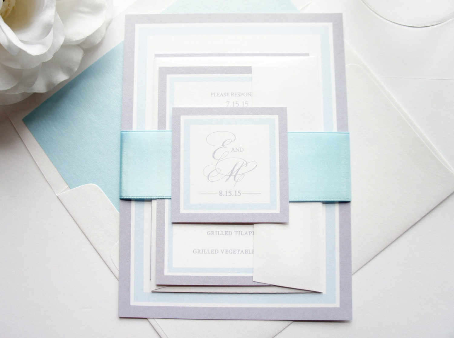 Pastel Blue Wedding Invitation Baby Blue Wedding Invitation