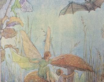 1920-Illustration-Margaret W Tarrant-Fairies-Fairy Land-Bat-Nursery-Home decor-Matted-Ready to frame