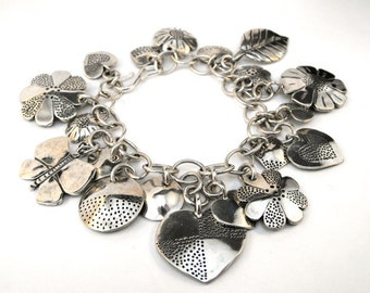 Recycled Money Loaded Coin Design Charm Bracelet Sterling Silver Dimes Quarters and Half Dollars