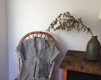 Vintage striped shortsleeved button up