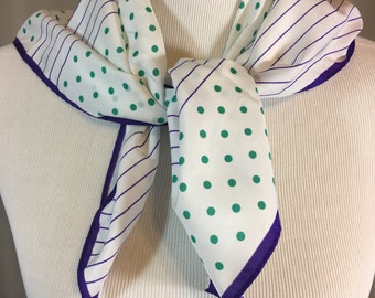 Vintage White Scarf with Green Polka Dots and Purple Stripes 26.5 Inches by 25.75 Inches Previously 13 Dollars ON SALE