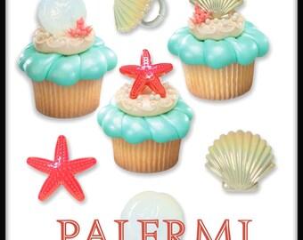 12 Sea Shells Cupcake Topper, Under the Sea Cupcake Toppers, Beach Shells Cupcake Rings 12 count