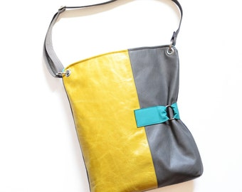 Large Leather Womens Bag, Crossbody Laptop Work Purse, Unique Shoulder Handbag with Adjustable Strap - The Luella in Yellow and Granite Grey