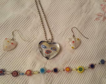 Millefiori glass necklace, earrings and bracelet