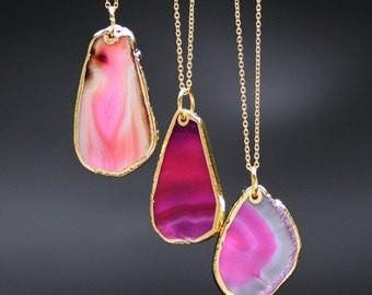 Natural pink agate gold necklace womans necklace pink stone pink crystal necklace