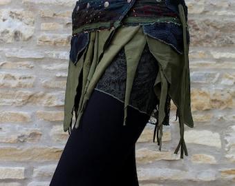 Mini Pixie skirt, Goa, Steampunk, Psy, Belt skirt