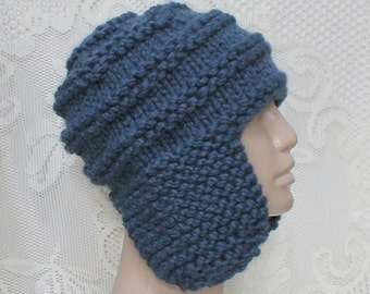 Marine denim blue ear flap hat trapper cap, mens toque, blue hat, mens womens beanie hat, winter hat, mens womens knit hat, blue knitted hat
