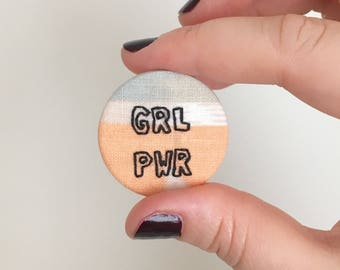 GRL PWR 38mm Hand Stitched Fabric Badge // Feminist Pin // Fashion Accessories