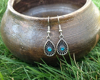 Drops of Blue Earrings-petite
