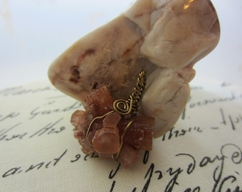 Aragonite Freeform Spiral Cage Bronze Tone Wire Wrapped Necklace Pendant OOAK