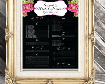 Seating Chart - Black White and Pink - Place Card Substitute