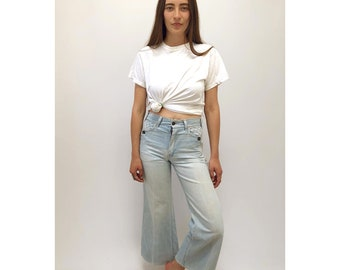 Ventura BLVD Bell Bottoms // vintage 70s denim blue jeans boho hippie bottom dress high waist hippy cotton 1970s festival light // XS/S