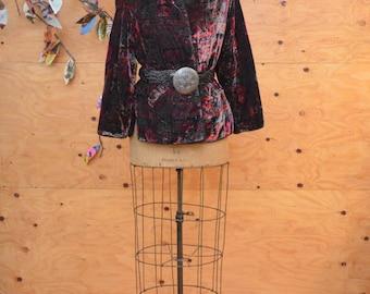 Vintage 80's Coat Softest Ever Black Floral Velvet Jacket With Bohemian Vibe SZ  Medium