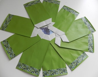 Floral collection: 10 Kraft envelopes green 7 x 12 cm and masking tape