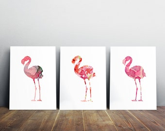 Set of 3 pink flamingo watercolors - giclee Prints - bright pink Nursery Art - Animal Painting -  aquarelle flamingo Wall Decor
