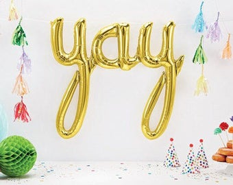 Yay Gold Script Balloon! FREE POSTAGE - 114cm Bright Gold mylar foil balloon.