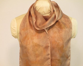 "Eco Fashion Gift - Silk Scarf Plant-Dyed with Peony and Willow -  HA8111728  - 8""x70"" (20 x 177cm)"
