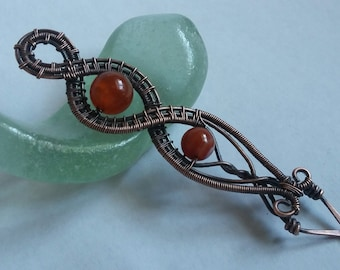 Wire Wrapped Fire Agate Pendant