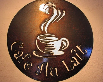 Cafe' Au Lait Bistro  - Metal art - Custom Sign