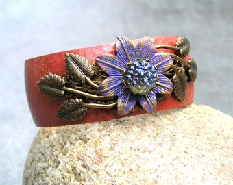 Purple Flower Bracelet, Brass Cuff, Elements, Handmade Bracelet, OOAK
