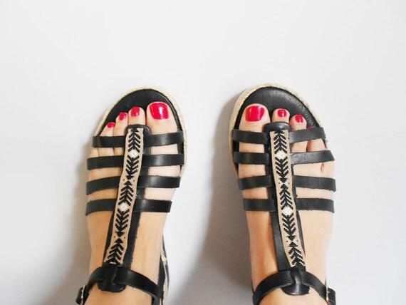 Strappy Black Greek Black Sandals Sandals Wedges Leather Sandals Black Wedges Gladiator Boho Wedges Wedges Black Sandals vg5qAxw5H