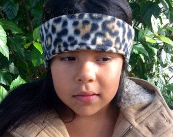 Cheetah print, safari print, fleece ear warmer, monogrammed head wrap, child head warmer, kids ear warmer, winter ear warmer, fleece