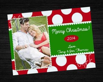 Bright Polka Dots Christmas Card (Printable)