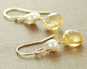 Honey Citrine Pearl Earrings, November Birthstone Jewelry, Gold Gemstone Dangle Earrings, aubepine