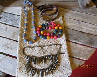 Vintage Jewelry Lot- Multi color Wood Beaded Necklace - Leather Headbands - Jean & Wood Beaded Necklace - Bronze Necklace