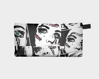 Handmade pencil case, make-up bag, small zippered pouch, broken doll black and white design, printed art case by Felicianation Ink