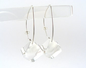Transparent Perspex Earrings, Clear Acrylic Drops, Plexiglass Ice Clear