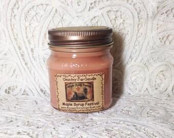 Jar Candle, Maple Syrup Festival, mason jar candle, Shepherd Maple Syrup Festival, half pint, container candle, Moeggenborg Sugar Bush