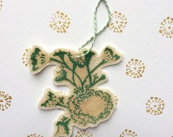 Botanical Ornament, Nature Ornament, Botanical Print, Lichen Hanging, Lichen Print, Flower Ornament, Christmas Ornament, Gift for Her