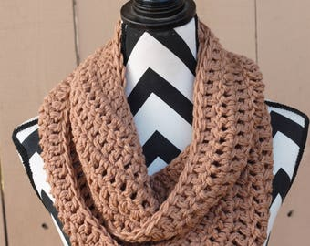 Ready to Ship Light Brown Infinity Scarf