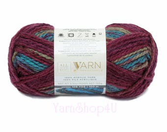 MULBERRY OMBRE Bulky Yarn. All Things You Premium Acrylic. A Rainbow of Dark Colors. Soft Bulky Variegated. Same as Charisma Mulberry Yarn