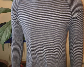 Divided by H&M sailor raglan long sleeve t-shirt 100% cotton blue and white horizontal stripes medium