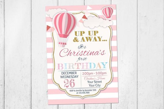 Hot air balloon birthday party invitation birthday party up filmwisefo
