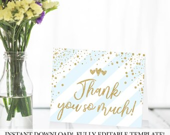 Blue Vertical Stripe Thank You Cards Template, DIY Thank You Card, Thank You Note Personalized, Baby Shower Thank You Cards Instant Download