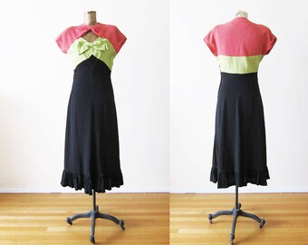 1930s Dress / Late 30s Early 40s Vintage Dress / Bow Bust Tri Color Pink Green Black Dress Small / Rockabilly Dress / Rockabilly Clothes