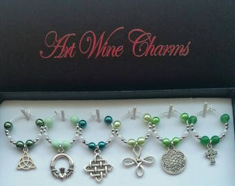 6 Celtic themed Wine Charms, St. Patrick's Day, St. Paddy's Day, Scottish, Party Decorations, Irish Pub, Thank You, Gift, Scotland, Ireland