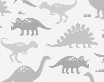 Gray Dinosaurs Organic Fabric - By The Yard - Boy / Girl / Gender Neutral