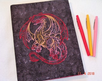Red Dragon Embroidered Composition Notebook Cover