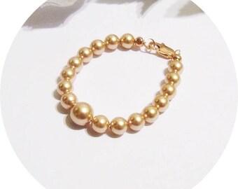 Rose Gold Bracelet, Girls Rose Gold Bracelet, Toddler Bracelet Rose Gold, Flower Girl Bracelet, Kids Jewelry, Girls Bracelet, Pearl Bracelet